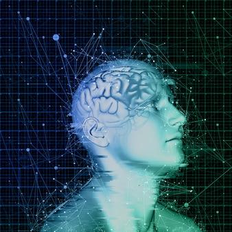 Figura maschile 3d con cervello evidenziato con linee e punti di collegamento