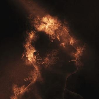 Figura maschile 3D con fiamme sulla testa che raffigura la salute mentale