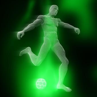 Figura maschile calciatore 3d con design wireframe