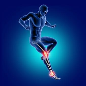 Figura medica maschio 3d che salta con l'osso della caviglia e del ginocchio evidenziato