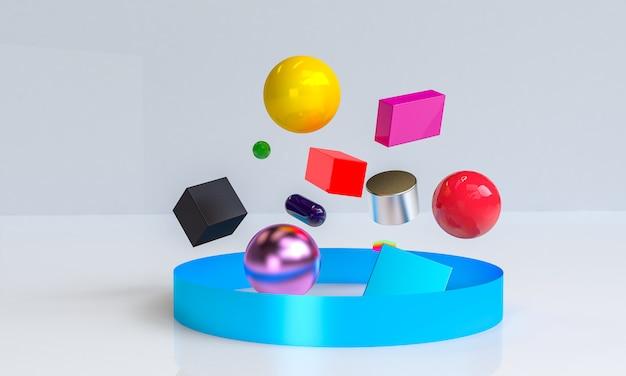 Figure geometriche primitive, rendering 3d, podio per i beni pubblicizzati