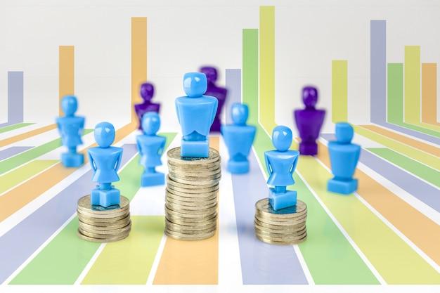 Figurine maschii e femminili che stanno sopra i mucchi della moneta con altre figurine in.