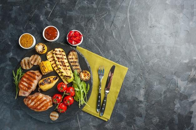 Filetto di maiale fritto e verdure grigliate
