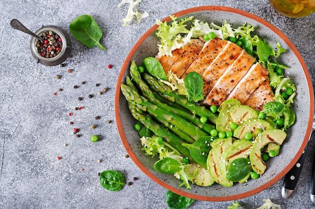 Filetto di pollo cotto su una griglia con contorno di asparagi e avocado alla griglia.