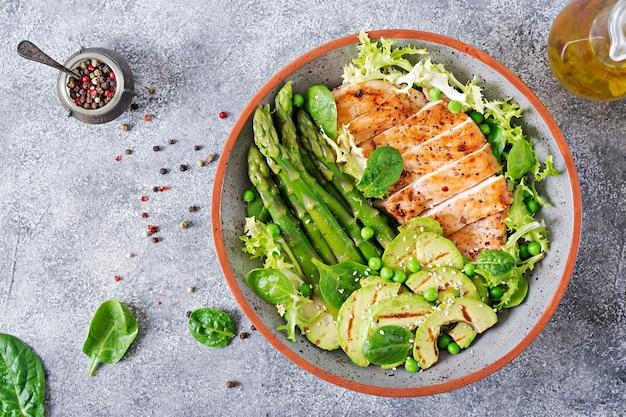 Filetto di pollo cotto su una griglia con contorno di asparagi e avokado grigliato. menu dietetico. cibo salutare. disteso. vista dall'alto