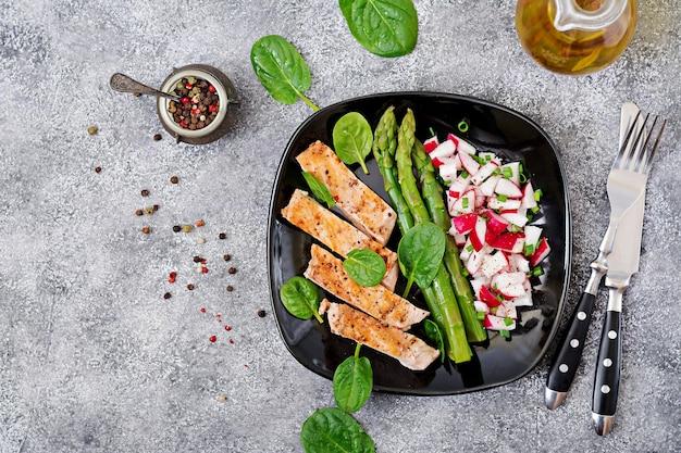 Filetto di pollo cotto su una griglia con contorno di asparagi e salsa di ravanello. vista dall'alto