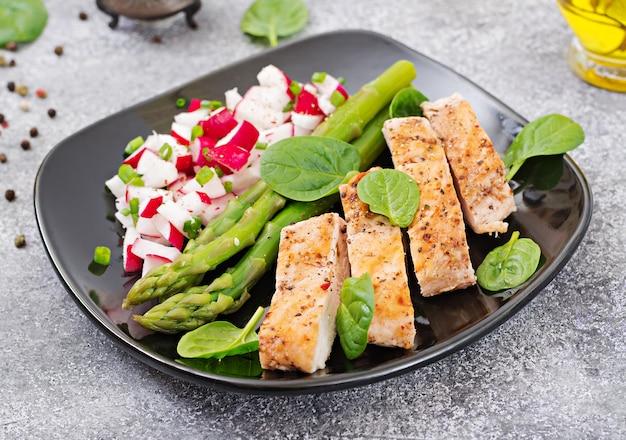 Filetto di pollo cotto su una griglia con contorno di asparagi e salsa di ravanello.