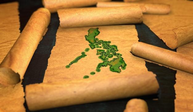 Filippine mappa pittura unfolding old paper scorrimento 3d