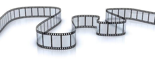 Film in bianco ritorto per una fotocamera su uno sfondo bianco. rendering 3d