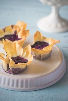 Filo cupcakes con crema di mirtilli