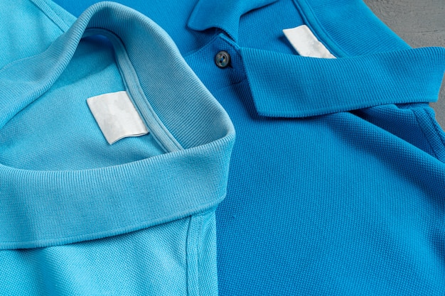 Fine blu di struttura della maglietta di polo del cotone su. moda maschile