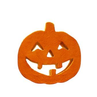 Fine del fronte della zucca di halloween in su sui precedenti bianchi