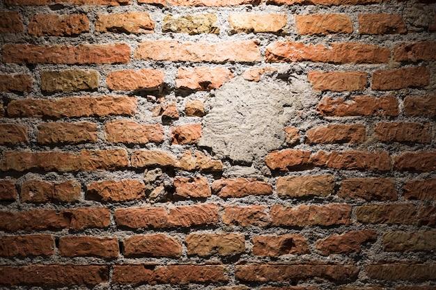 Fine di struttura del muro di mattoni in su