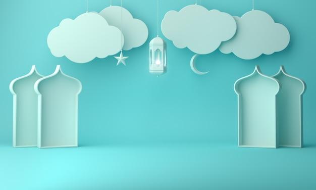 Finestra e nuvola islamiche della moschea della lanterna del fondo