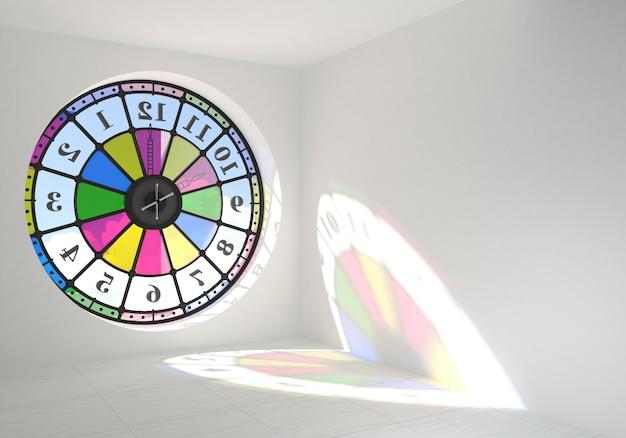 Finestra rotonda orologio nella stanza
