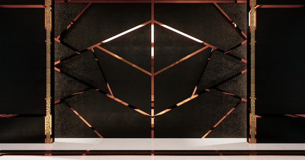 Finiture in alluminio oro su design a parete nera e pavimento in legno