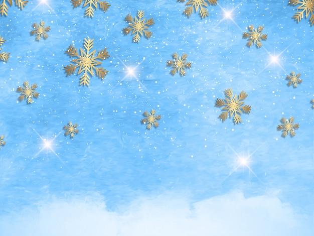 Fiocchi di neve di natale su una texture ad acquerello