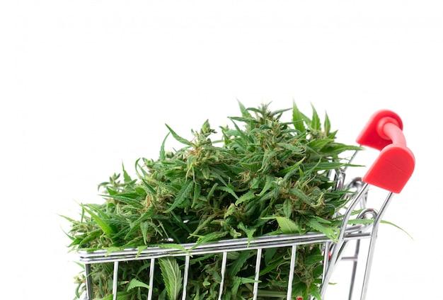 Fiore della marijuana in carrello isolato