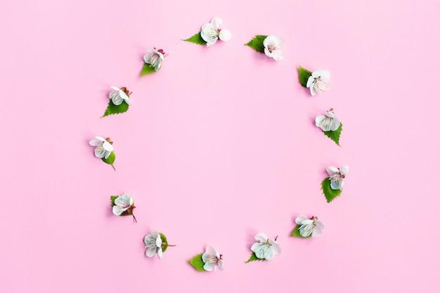 Fiore di primavera. fioritura primaverile delle mele, sfondo di fiori rosa, cornice floreale pastello e morbida