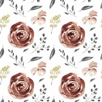 Fiore di primavera rosa e borgogna e fiori di corallo modello acquerello senza soluzione di continuità