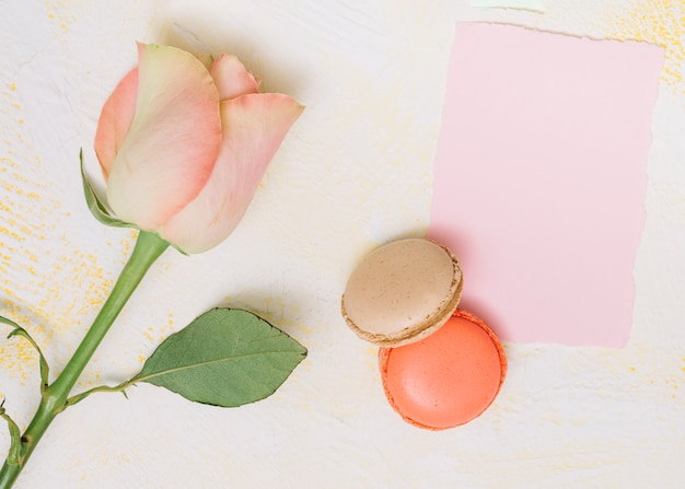Fiore di rosa con carta e biscotti sul tavolo