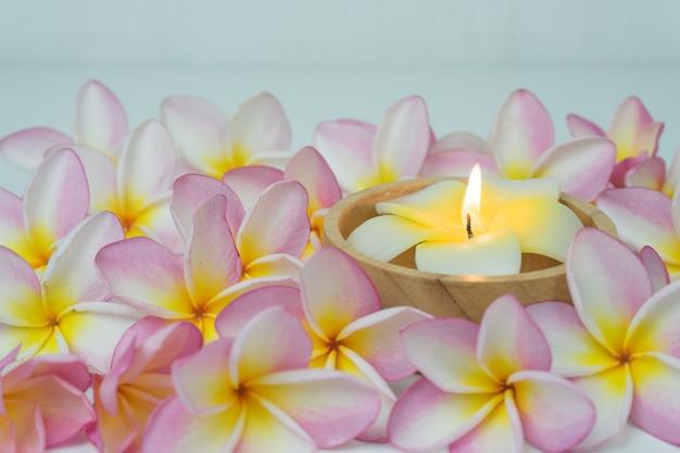 Fiore e candela di plumeria su fondo