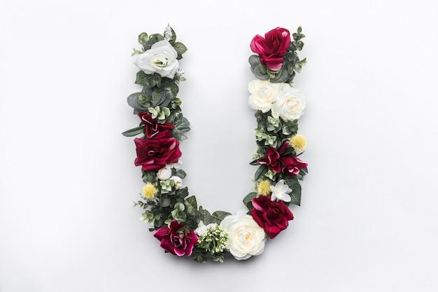 Fiore lettera u monogramma floreale
