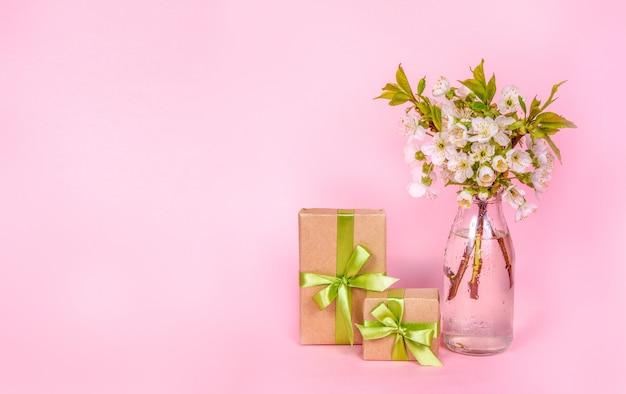 Fiori bianchi della ciliegia e contenitori di regalo su fondo rosa