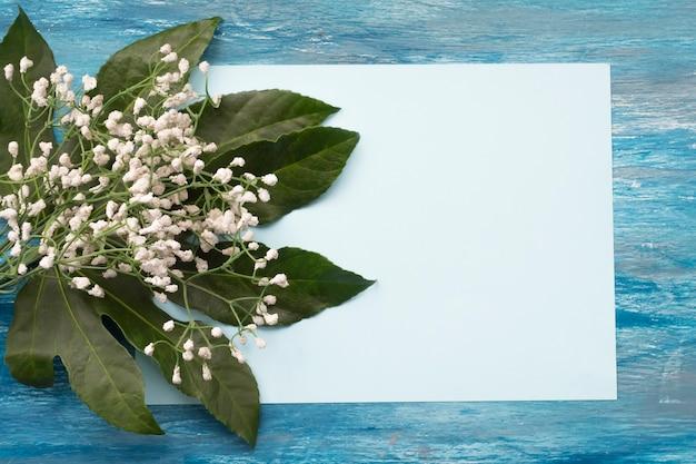 Fiori comuni del baby-breath con le foglie su carta in bianco per testo su fondo strutturato blu