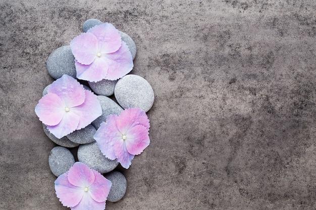 Fiori della stazione termale e pietra da massaggio su sfondo grigio