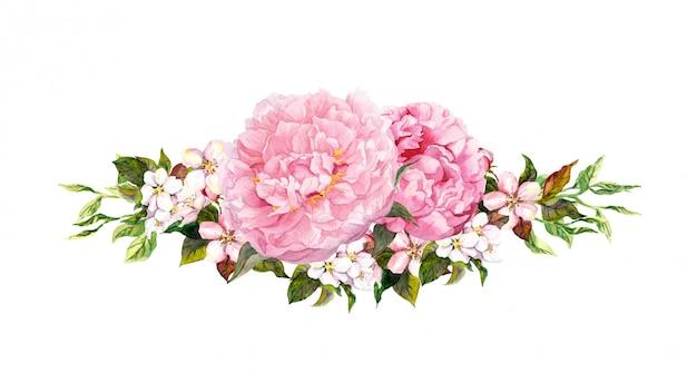 Fiori di peonia rosa, mela bianca o fiori di ciliegio. acquerello in stile vintage