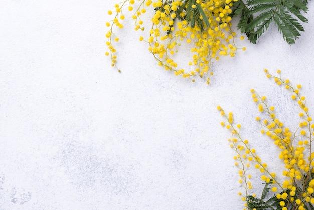Fiori di primavera copia-spazio sul tavolo