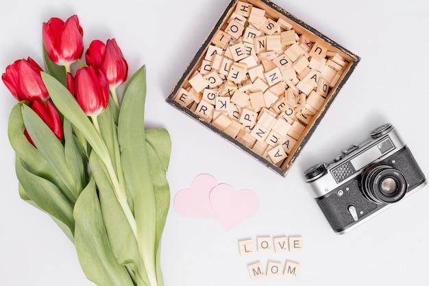 Fiori di tulipano rosso; blocchi di legno; a forma di cuore; e retro macchina fotografica contro sfondo bianco