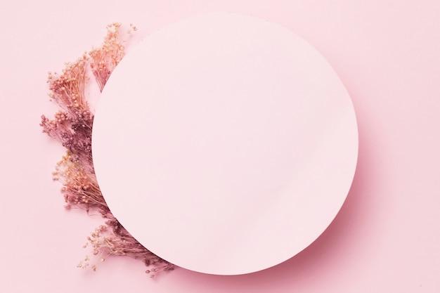 Fiori piatti distesi con cerchio rosa blak