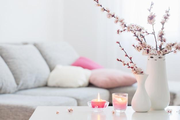 Fiori rosa della primavera in vaso nell'interno bianco