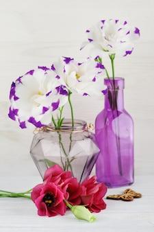 Fiori rossi porpora di eustoma sulla tavola bianca