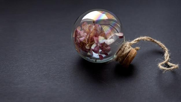 Fiori secchi dentro la lampadina di vetro su fondo scuro