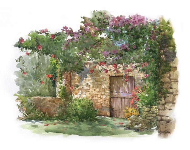 Fiori variopinti astratti e casa nella pittura dell'acquerello.