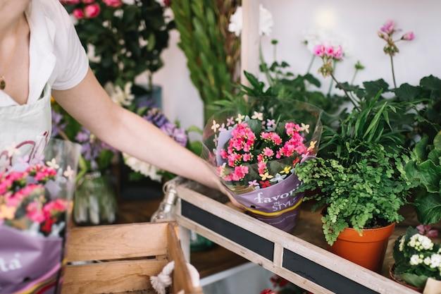 Fiorista del raccolto che sistema i fiori in negozio