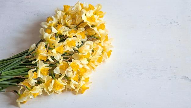 Fioriture primaverili, narcisi gialli su fondo in legno chiaro. sfondo posteriore.