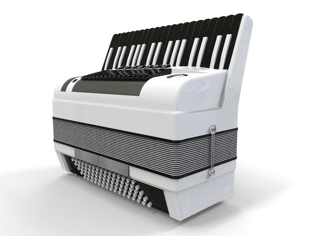 Fisarmonica in bianco e nero su sfondo grigio isolato. illustrazione 3d