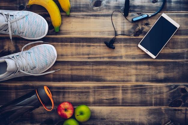 Fitness e sano concetto di sfondo stile di vita attivo.