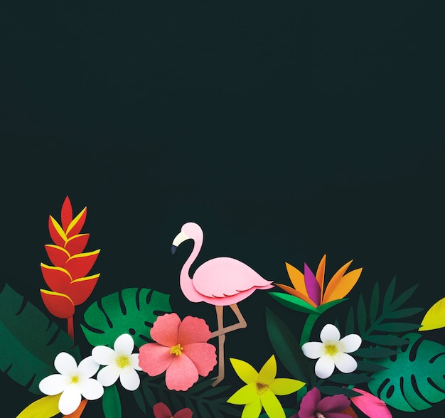 Flamingo nature papercraft lascia le piante