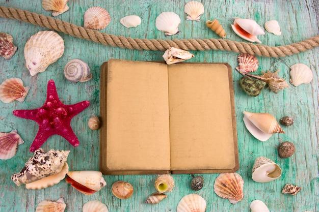 Flat lay vecchia derisione sul notebook e raccolta di conchiglie, sfondo estivo