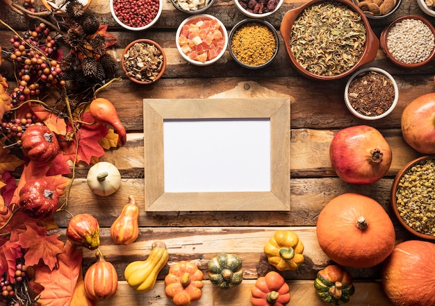 Flay lay autumn food frame mock-up