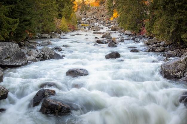 Flusso del fiume attraverso il tempo di stagione della fascia