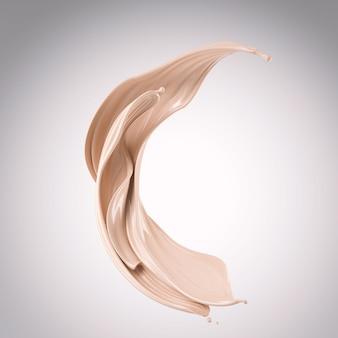 Flusso della crema liquida della spruzzata del fondamento, illustrazione 3d.