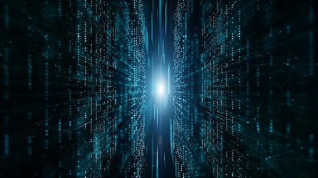 Flusso di particelle di matrice digitale astratta, connessione dati digitale, concetto di tecnologia.