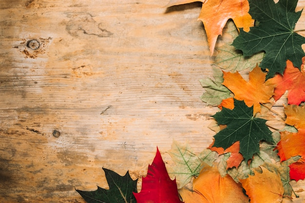 Fogli di caduta di autunno su fondo di legno