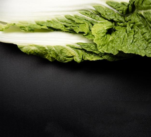 Foglia del primo piano dello spazio della copia dell'insalata